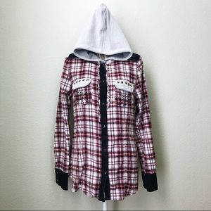 BKE eased Hooded Button Down with Rock Studs M